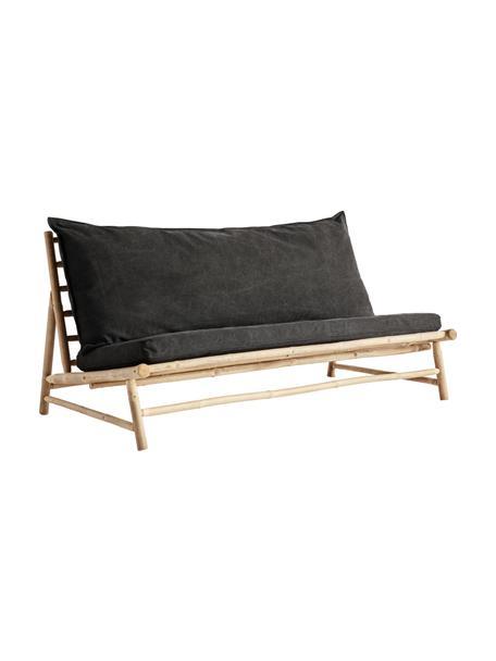 Bambus-Loungesofa Bamslow mit Polsterauflage, Gestell: Bambus, Bezug: 100% Baumwolle, Dunkelgrau, Braun, B 160 x T 87 cm