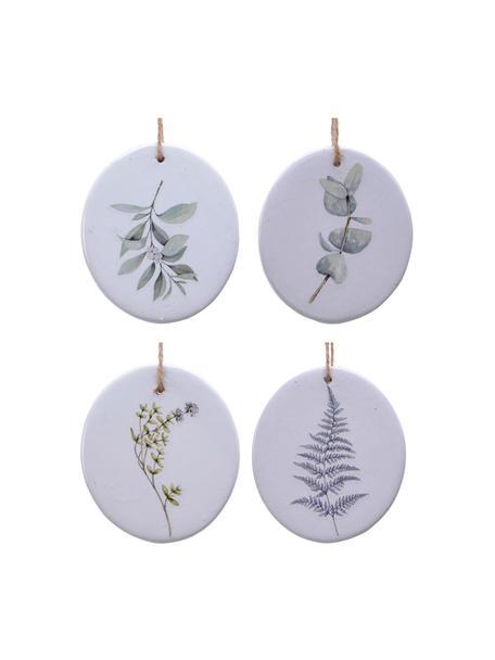 Komplet ozdób choinkowych Flory, 4 elem., Porcelana, Biały, zielony, Ø 8 cm