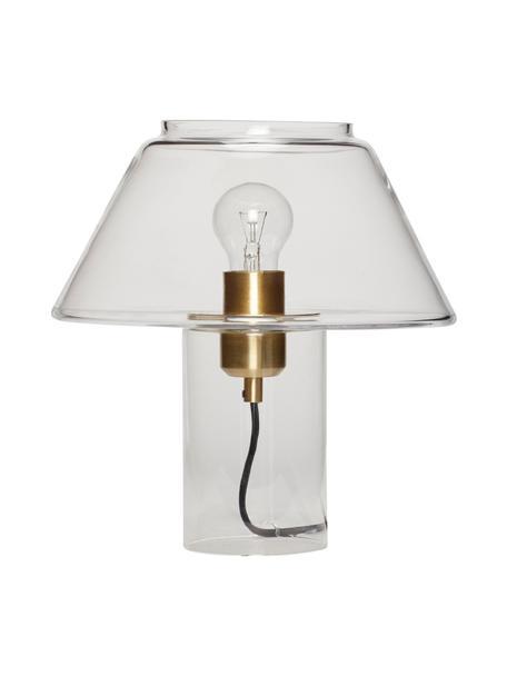 Kleine tafellamp Gluni van glas, Lampenkap: glas, Lampvoet: glas, Fitting: messing, Transparant, Ø 27 x H 29 cm