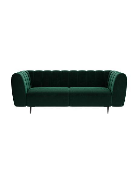 Sofa z aksamitu Shel (3-osobowa), Tapicerka: 100% aksamit poliestrowy, Stelaż: drewno liściaste, drewno , Nogi: metal powlekany Dzięki tk, Ciemny zielony, S 210 x G 95 cm