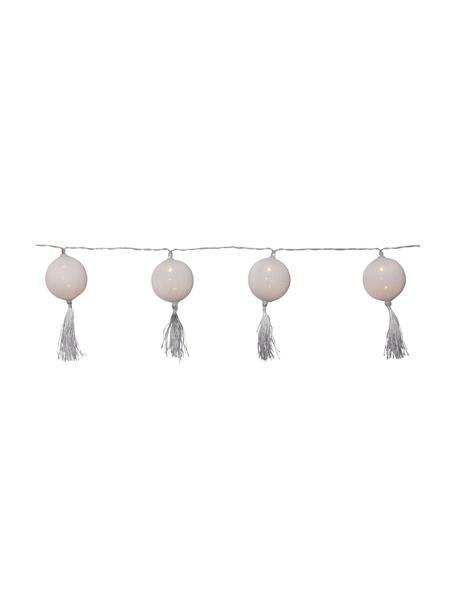 LED-Lichterkette Jolly Tassel, 185 cm, Tasseln: Baumwolle, Weiß, L 185 cm