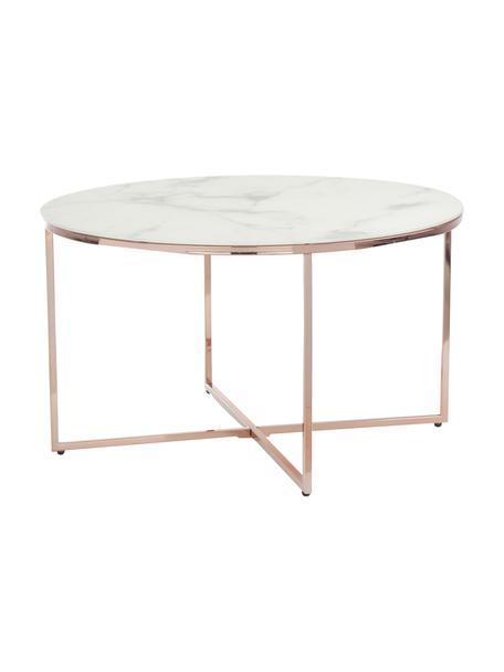 Couchtisch Antigua mit marmorierter Glasplatte, Tischplatte: Glas, matt bedruckt, Gestell: Stahl, vermessingt, Weiß-grau marmoriert, Roséfarben, Ø 80 x H 45 cm