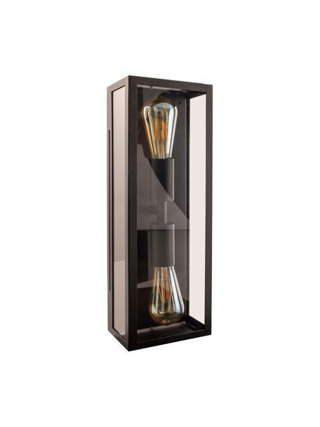 Applique industriale da esterno Ayla, Struttura: acciaio rivestito, Paralume: vetro, Nero, Larg. 16 cm