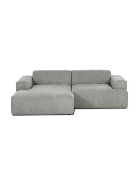 Cord-Ecksofa Melva (3-Sitzer) in Grau, Bezug: Cord (92% Polyester, 8% P, Gestell: Massives Kiefernholz, Spa, Füße: Kiefernholz, Cord Grau, B 240 x T 144 cm