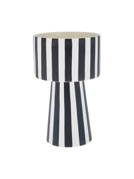 Handgemaakte plantenpot Toppu van keramiek, Keramiek, Wit, zwart, Ø 15 x H 24 cm