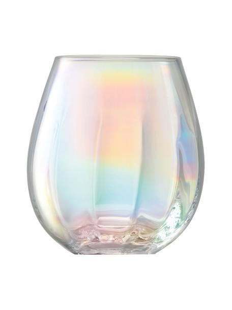 Mundgeblasene Wassergläser Pearl mit schimmernden Perlmuttglanz, 4er-Set, Glas, Perlmutt-Schimmer, Ø 9 x H 10 cm