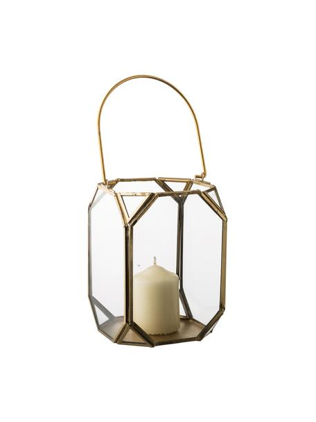 Lanterna in vetro e ottone Ginny, Struttura: metallo rivestito, Ottonato, Larg. 11 x Alt. 15 cm
