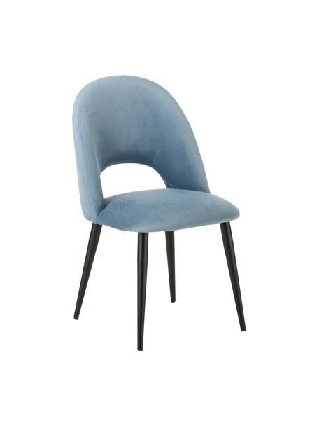 Fluwelen stoel Rachel in blauw, Bekleding: fluweel (hoogwaardig poly, Poten: gepoedercoat metaal, Lichtblauw, B 53 x D 57 cm