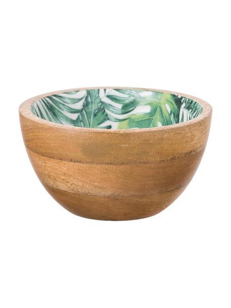 Ciotola in legno di mango con motivo tropicale Alina, Legno di mango, Legno di mango, verde, bianco, Ø 16 x Alt. 9 cm