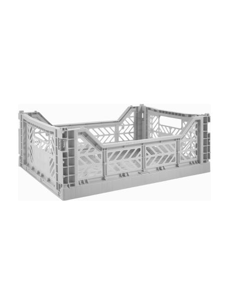 Klappkiste Grey, stapelbar, medium, Recycelter Kunststoff, Grau, 40 x 14 cm
