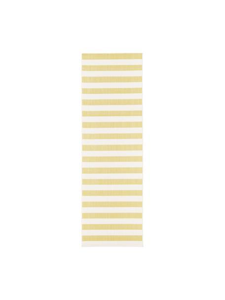 Gestreifter In- & Outdoor-Läufer Axa in Gelb/Weiß, Flor: 100% Polypropylen, Cremeweiß, Gelb, 80 x 250 cm