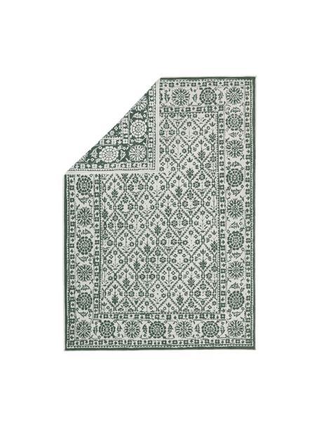 Dwustronny dywan wewnętrzny/zewnętrzny vintage Curacao, Zielony, odcienie kremowego, S 160 x D 230 cm (Rozmiar M)