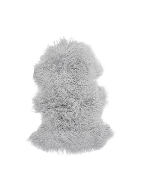 Langharige schapenvacht Ella, gekruld, Bovenzijde: Mongoolse schapenvacht, Onderzijde: leer, Lichtgrijs, 50 x 80 cm