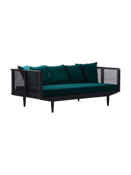 Fluwelen bank Big Sur (3-zits) met Weens vlechtwerk, Bekleding: 100% polyester fluweel, Frame: mangohout, rotan, Flessengroen, zwart, 106 x 79 cm