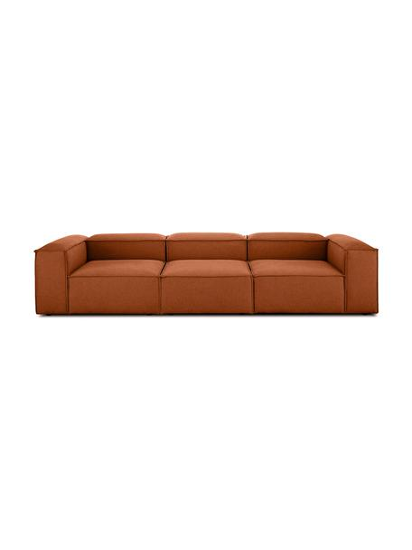 Modulares Sofa Lennon (4-Sitzer) in Terrakotta, Bezug: Polyester Der hochwertige, Gestell: Massives Kiefernholz, Spe, Webstoff Terrakotta, B 326 x T 119 cm
