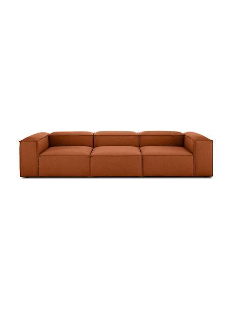 Sofa modułowa Lennon (4-osobowa), Tapicerka: poliester Dzięki tkaninie, Stelaż: lite drewno sosnowe, skle, Nogi: tworzywo sztuczne, Terakota, S 326 x G 119 cm