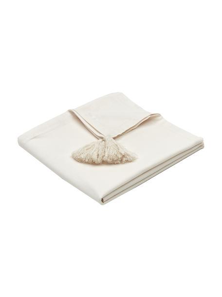 Tischdecke Benini mit Quasten, 85% Baumwolle, 15% Leinen, Beige, 130 x 270 cm