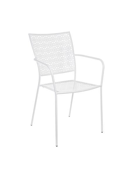 Sedia da giardino con braccioli  Jodie, Acciaio rivestito in polvere epossidica, Bianco, Larg. 57 x Alt. 89 cm