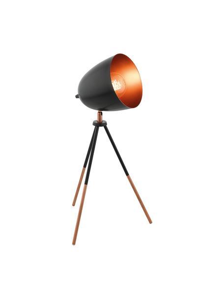 Tripod tafellamp Luna in industrieel design, Lampenkap: gepoedercoat staal, verko, Lampvoet: gepoedercoat staal, verko, Lampvoet: zwart, koperkleurig. Lampenkap buitenkant: zwart, 29 x 44 cm