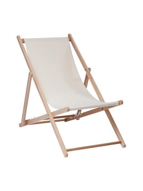 Klappbarer Liegestuhl Hot Summer, Gestell: Buchenholz, Beige, Buchenholz, B 96 x T 56 cm