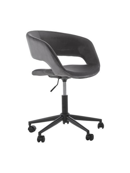 Fluwelen bureaustoel Grace, in hoogte verstelbaar, Bekleding: polyester, Frame: gepoedercoat metaal, Fluweel donkergrijs, B 56 x D 54 cm