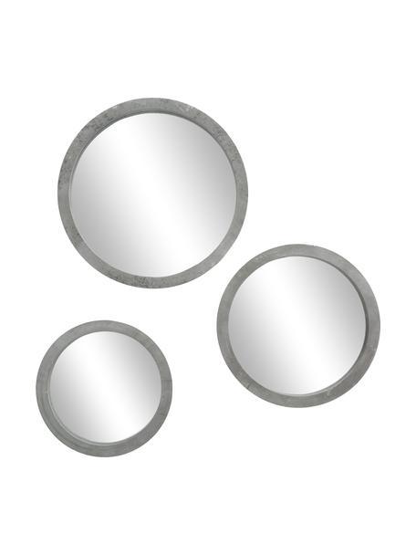Ronde wandspiegelset Brest met grijze lijst, 3-delig, Frame: gelakt MDF, Lijst: grijs. Voorzijde: spiegelglas, Set met verschillende formaten
