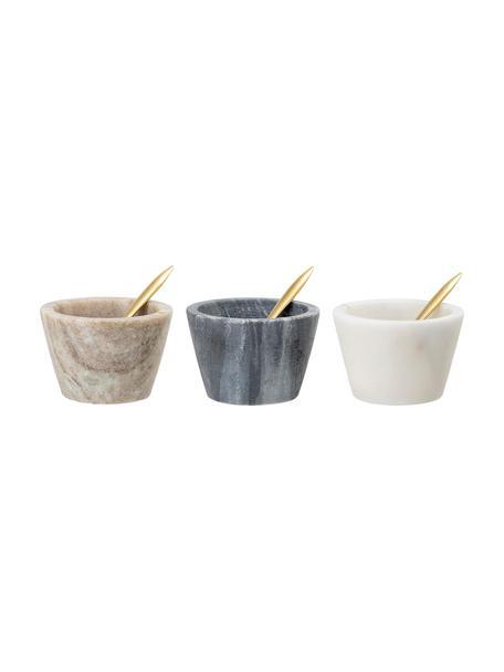 Set de cuencos de mármol Janina, 3uds., Cuencos: mármol, Cuchara: latón, Multicolor, Ø 8x Al 5 cm