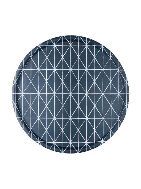 Okrągła taca Ystad, Melamina, Niebieski, biały, Ø 41 cm