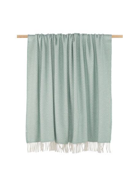 Plaid in lana Aubrey, 70% lana, 30% acrilico Qualità 270 g, Verde menta, bianco latte, Larg. 140 x Lung. 186 cm