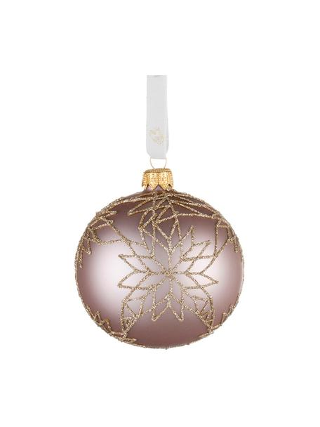 Weihnachtskugeln Cadelia Ø8cm, 2Stück, Rosa, Goldfarben, Ø 8 cm