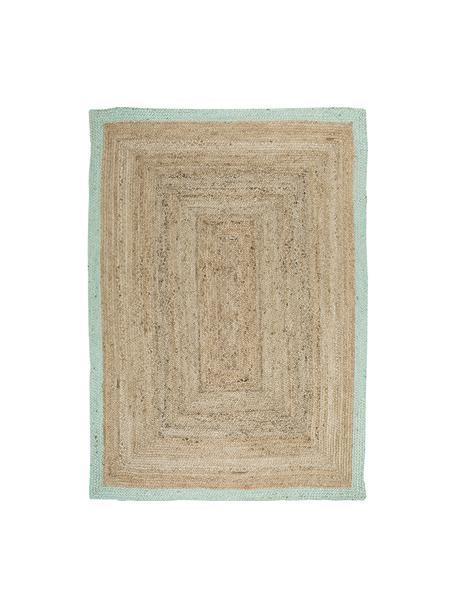 Handgefertigter Jute-Teppich Shanta mit mintgrünem Rand, Jute, Mintgrün, B 120 x L 180 cm (Größe S)
