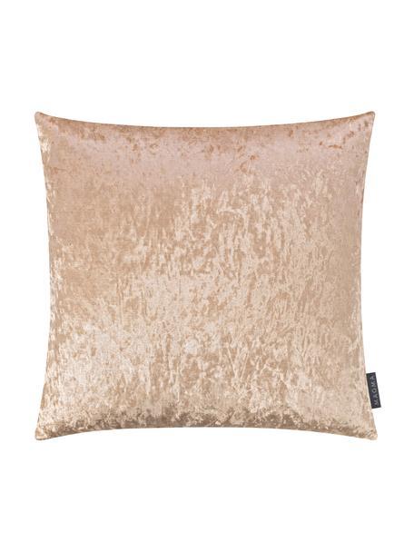 Poszewka na poduszkę z aksamitu Shanta, Aksamit poliestrowy, Odcienie szampańskiego, S 40 x D 40 cm