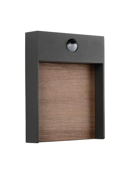 LED-Außenwandleuchte Jellum mit Bewegungsmelder, Dekor: Holz, Anthrazit, Holz, 18 x 23 cm