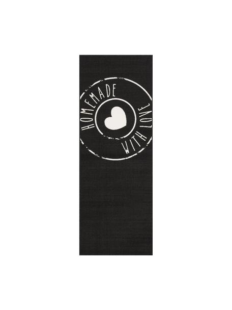 Alfombra de cocina Homemade with Love, antideslizante, Parte superior: 100%poliamida, Reverso: látex, Negro, blanco, An 67 x L 180
