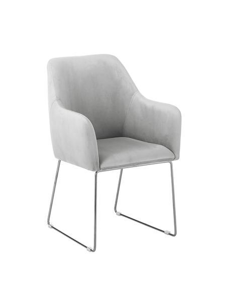 Sedia in velluto con braccioli Isla, Rivestimento: velluto (poliestere) Con , Gambe: metallo rivestito, Velluto grigio chiaro, gambe argento, Larg. 58 x Prof. 62 cm