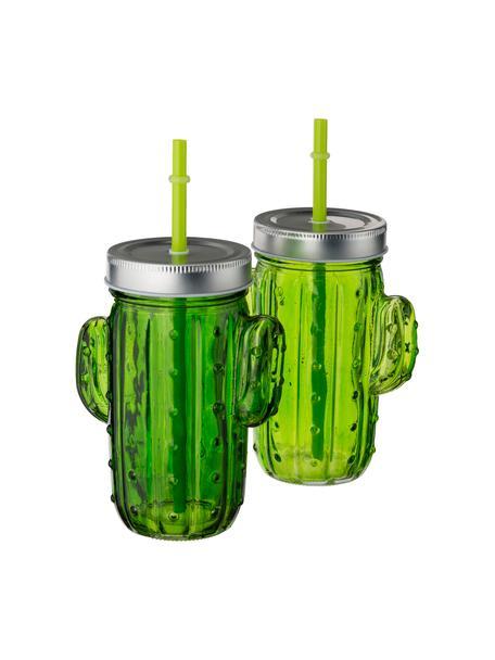 Drinkglazenset Cactus, 2-delig, Drinkglas: glas, Deksel: metaal, Rietje: kunststof, Groentinten, 12 x 15 cm