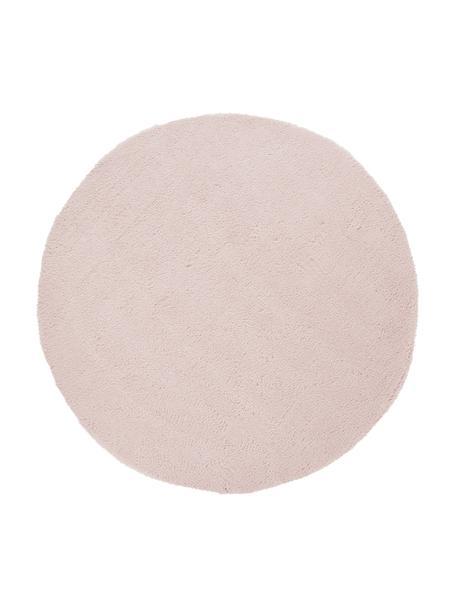 Tappeto peloso rotondo rosa chiaro Leighton, Retro: 100% poliestere, Rosa, Ø 120 cm (taglia S)