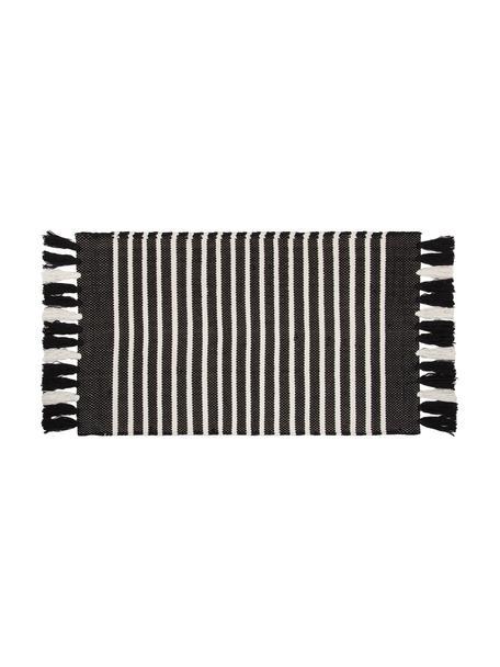 Gestreifter Badvorleger Stripes & Structure mit Fransenabschluss, 100% Baumwolle, Anthrazit, gebrochenes Weiss, 60 x 100 cm