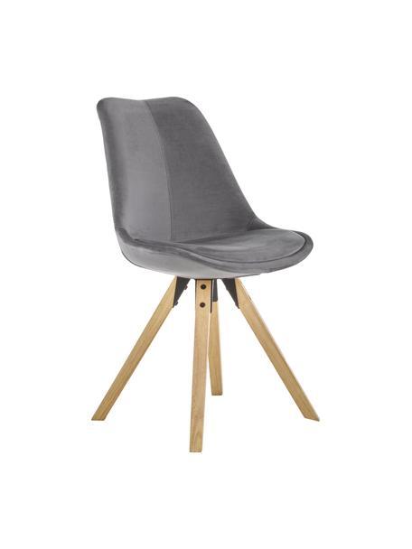 Fluwelen stoelen Dima, 2 stuks, Bekleding: polyester fluweel, Poten: geolied rubberboomhout, Bekleding: donkergrijs. Poten: rubberhout, B 49 x D 55 cm