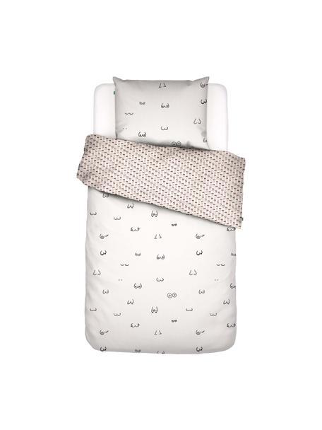 Baumwollperkal-Wendebettwäsche Booby Trap mit gezeichnetem Print, Webart: Perkal, Weiß, 135 x 200 cm + 1 Kissen 80 x 80 cm