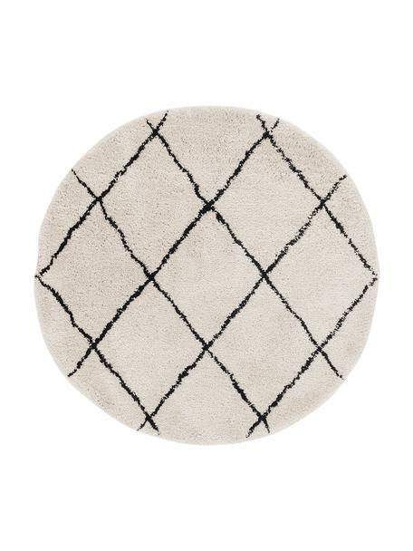 Alfombra redonda artesanal de pelo largo Naima, Parte superior: 100%poliéster, Reverso: 100%algodón, Beige, negro, Ø 140 cm (Tamaño M)