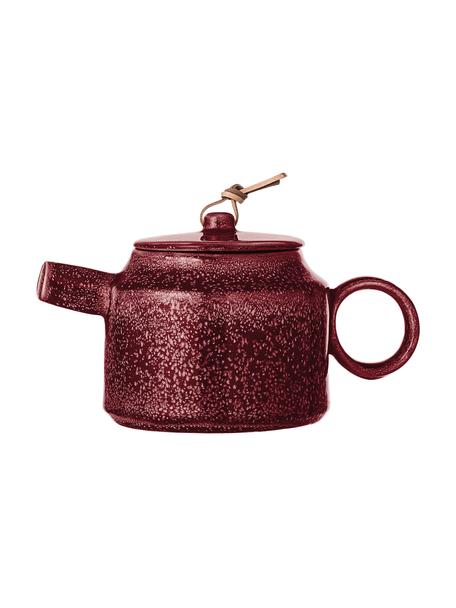 Handgemachte Steingut Teekanne Joelle, 570 ml, Dunkelrot, 570 ml