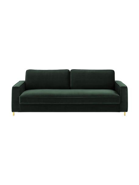 Samt-Sofa Chelsea (3-Sitzer) in Dunkelgrün mit Metall-Füssen, Bezug: Samt (Hochwertiger Polyes, Gestell: Massives Fichtenholz, Samt Dunkelgrün, B 228 x T 100 cm