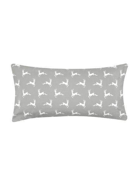 Flanell-Kissenbezüge Rudolph mit Rentieren, 2 Stück, Webart: Flanell Flanell ist ein s, Grau, Ecru, 40 x 80 cm