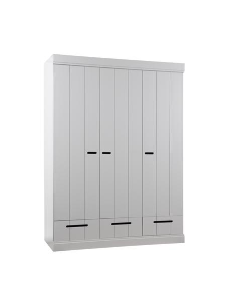Kleiderschrank Connect mit 3 Türen in Hellgrau, Korpus: Kiefernholz, lackiert, Einlegeböden: Spanplatte, melaminbeschi, Grau, 140 x 195 cm