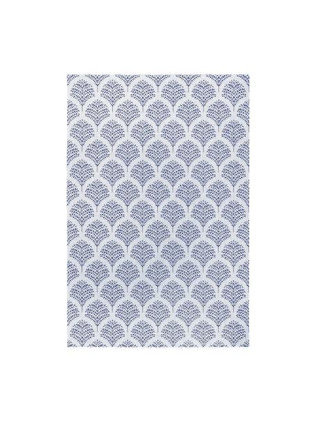 In- & outdoor vloerkleed Stan met blauw patroon, 100% polypropyleen, Blauw, wit, B 80 x L 150 cm (maat XS)