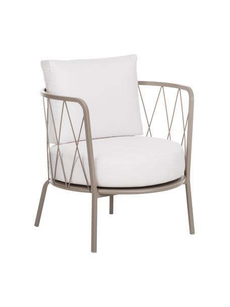 Outdoor loungefauteuil  Sunderland met zitkussen, Frame: verzinkt staal, gegalvani, Bekleding: polyacryl, Frame: taupe. Zit- en rugkussen: crèmekleurig, B 74 x D 61 cm