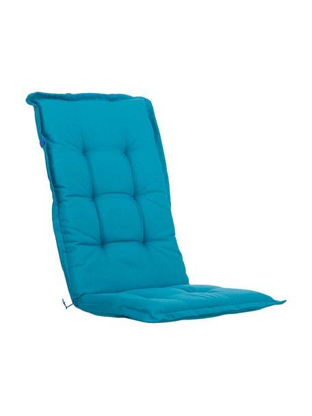 Einfarbige Hochlehner-Stuhlauflage Panama in Türkis, Bezug: 50% Baumwolle, 50%Polyes, Türkisblau, 50 x 123 cm