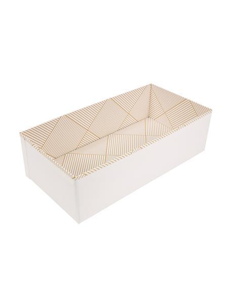 Organizer Drawer, Stevig, gelamineerd karton, Goudkleurig, wit, 36 x 10 cm