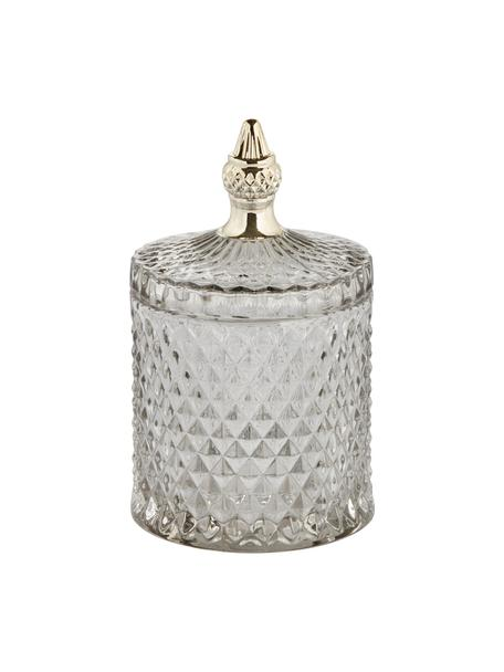Opbergpot Miya, Glas, Grijs, transparant, goudkleurig, Ø 10 x H 18 cm